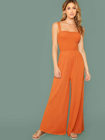 Bright Orange Sleeveless Shirred Bodice Wide Leg Jumpsuit