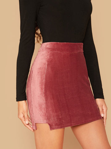Red High Waist Zipper Back Rib-knit Velvet Bodycon Skirt