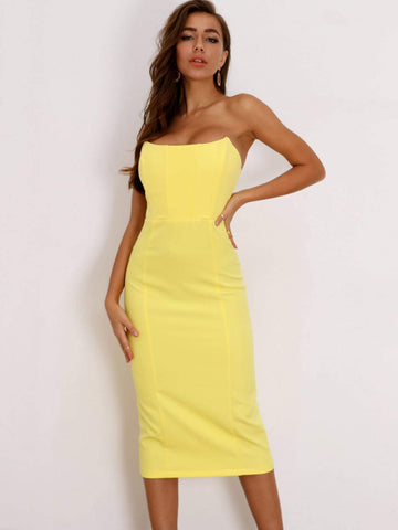 Pastel Yellow Sleeveless Strapless Zip Back Midi Bodycon Tube Dress