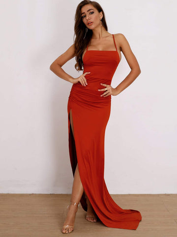 Red Spaghetti Strap Sleeveless Lace Up Backless Split Thigh Prom Dress Gown