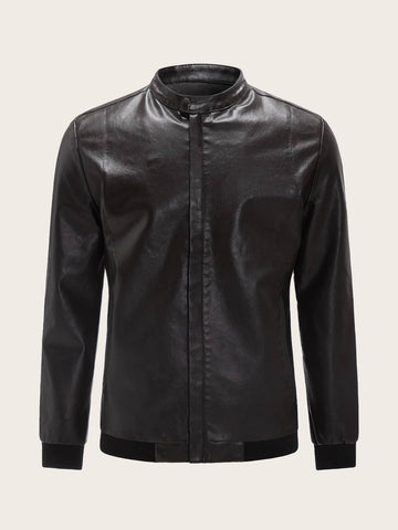 Brown Funnel Neck PU Biker Jacket