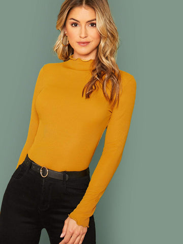 Stand Collar Mock-Neck Lettuce Trim Form Fitted Top