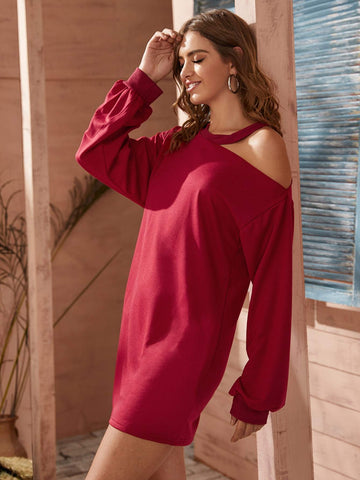 Red Asymmetrical Neck Solid Sweatshirt Dress