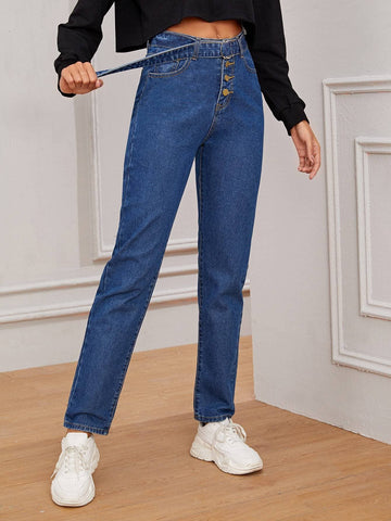 Blue Buckle Belted Solid Straight Jeans