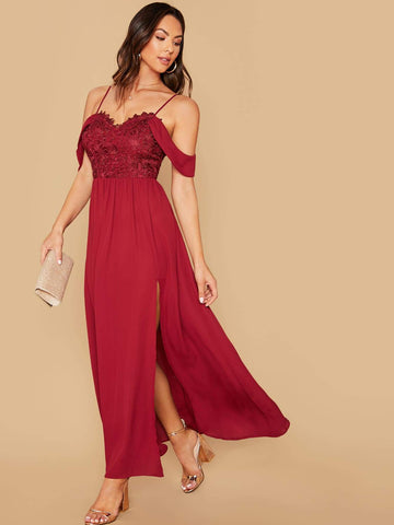 Burgundy Spaghetti Strap Cold Shoulder Guipure Lace Bodice High Split Hem Dress