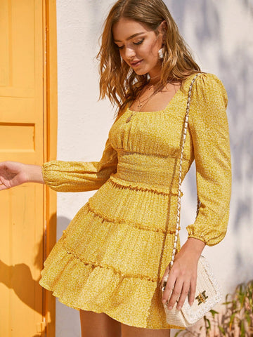 Bright Yellow Square Neck Shirred Waist Frilled Layered Ditsy Floral Dress