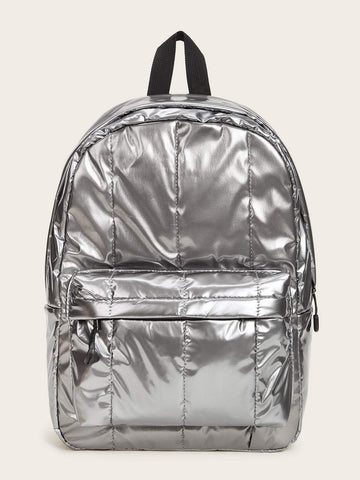 Silver Metallic Pocket Front Backpack