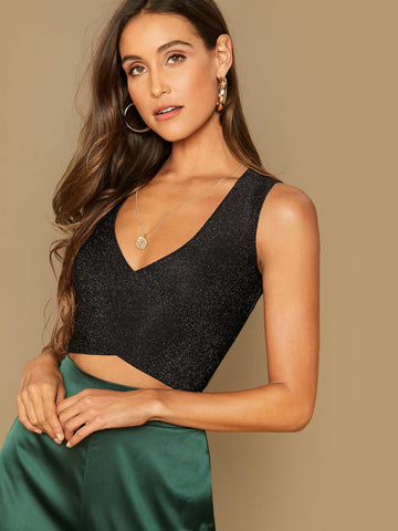 Deep V-Neck Slim Fit Cross Wrap Tie Back Glitter Tank Top