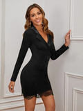 Satin Collar Wrap Front Lace Hem Bodycon Dress