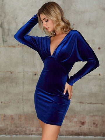 Navy Blue Backless Plunge Neck Batwing Sleeve Velvet Bodycon Dress