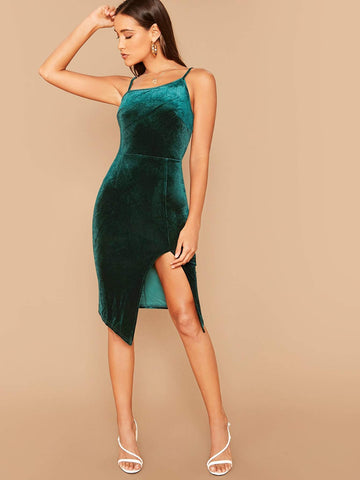 Green Sleeveless Spaghetti Strap Split Hem Velvet Bodycon Slip Dress