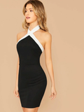 Sleeveless Contrast Trim Backless Bodycon Halter Dress