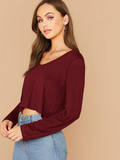 Solid V-Neck Crop Top
