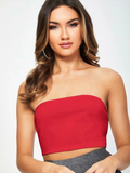 Strapless Sleeveless Solid Slim Fit Bandeau Top