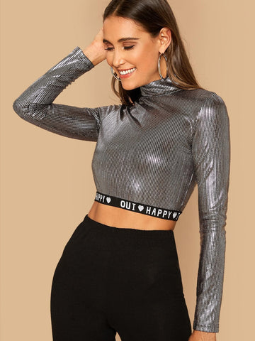 Grey Stand Collar Mock Neck Letter Tape Hem Sequin Top