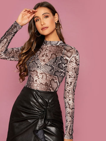 Stand Collar Snakeskin Print Sheer Slim Top