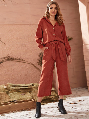Corduroy Blouse Top & Belted Wide Leg Pants