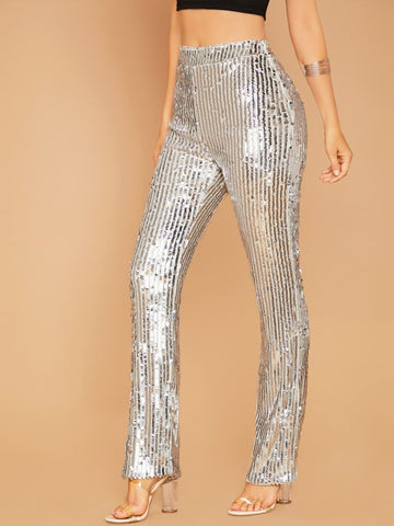 Grey Side Zip High Waist Wide Leg Metallic Sequin Pants