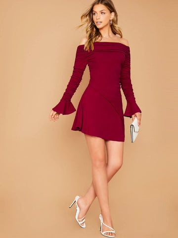 Red Off Shoulder Ruched Sleeve Flared Hem Slim Fit Mini Dress