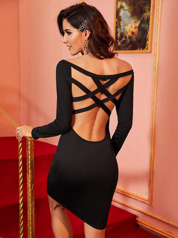 Black Off Shoulder Bardot Criss Cross Back Bodycon Dress