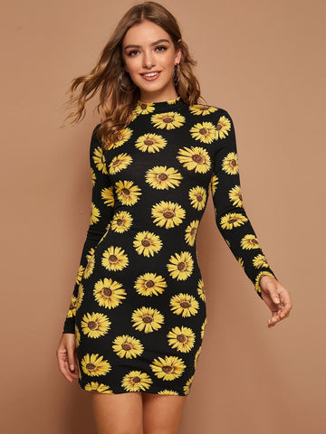 Stand Collar Mock Neck Sunflower Print Bodycon Dress