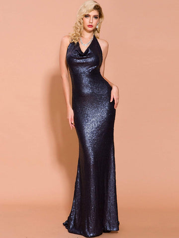 Navy Blue Backless Sequin Floor Length Halter Prom Dress Gown