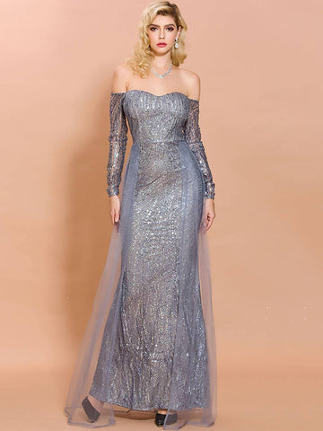 Grey Off Shoulder High Waist Sequin Mesh Bodycon Prom Dress