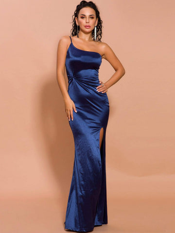 Navy Blue One Shoulder Split Thigh Twist Detail Satin Prom Dress Gown