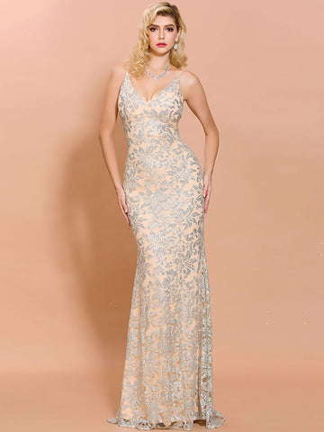 Pastel Beige Sleeveless Spaghetti Strap Backless Sequin Mesh Floor Length Cami Prom Dress