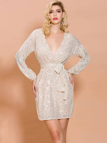 Plunge V-Neck Sequin Belted Dress