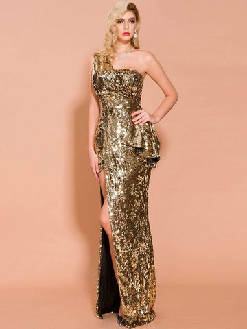 Sleeveless One Shoulder Split Thigh Sequin Prom Dress Gown