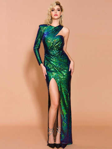 Bright Green One Shoulder Asymmetrical Neck Split Thigh Sequin Prom Dress Gown