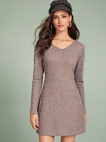 Brown V-Neck Space Dye Ribbed Dress