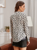V-Neck Allover Horse Print Single Pocket Blouse Top
