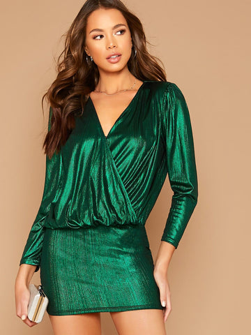 Green Surplice Neck Metallic Blouson Dress