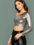 Slim Fit Asymmetrical Neck Metallic Crop Top