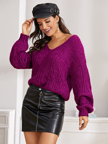 Purple V-Neck Drop Shoulder Cable Knit Sweater Pullover