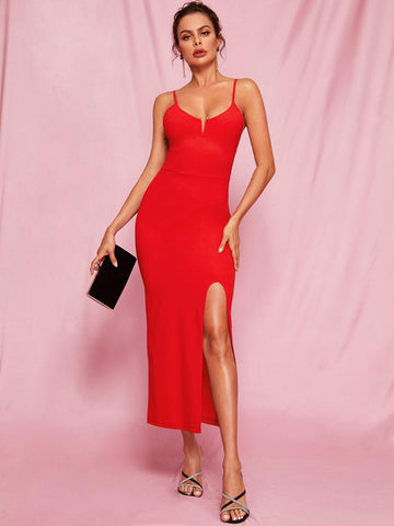 Bright Red Spaghetti Strap Sleeveless Split Thigh V-Bar Bodycon Cami Dress