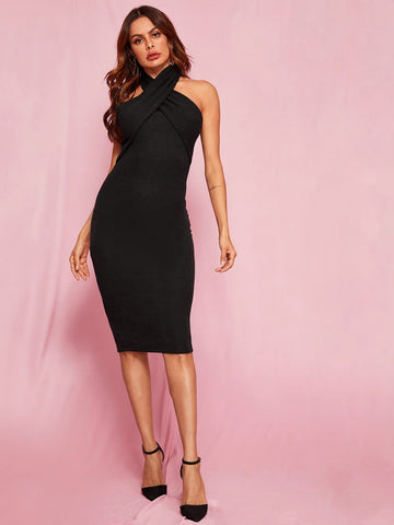 Black Sleeveless Cut Out Back Split Hem Halter Bodycon Dress