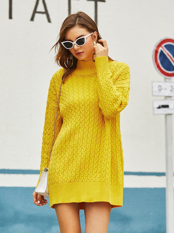 Bright Yellow High Neck Drop Shoulder Cable Knit Mini Sweater Dress