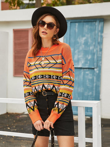 Round Neck Drop Shoulder Striped & Geo Print Sweater Pullover