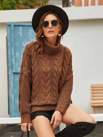 Brown Turtleneck Cable Knit Sweater Pullover