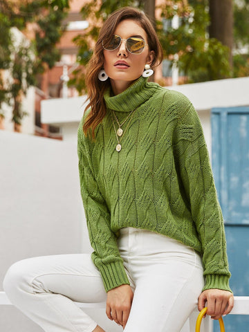 Green Cowl Neck Cable Knit Sweater Pullover