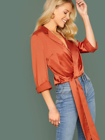 Bright Orange Solid Wrap Knotted Satin Crop Top
