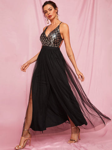 Black Spaghetti Strap Sleeveless Criss-cross Backless Sequin Cami Tulle Dress