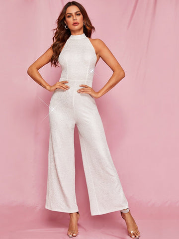 White Sleeveless Backless Textured Wide Leg Hater Jumpsuit