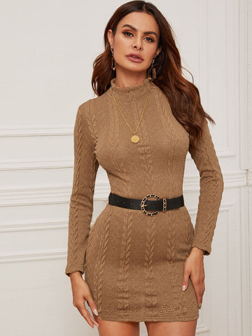 Stand Collar Mock-neck Cable Knit Bodycon Dress
