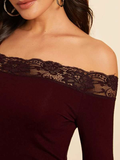 Off Shoulder Lace Trim Fitted Top