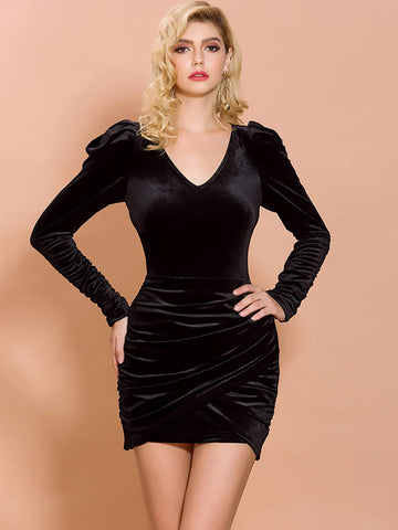 Black V-Neck Slim Fit Gigot Sleeve Slim Velvet Wrap Dress