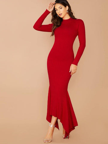 Red Slim Fit High Neck Mock Neck Rib Knit Long Sleeve Mermaid Hem Dress
